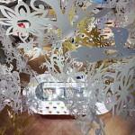 Vista da mezzanine para a loja, em baixo, através do belíssimo 'teto floral'