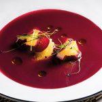 Restaurante Cozinha da-Clara Gaspacho de beterraba com queijo de cabra e laranja