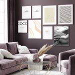 Mockup poster in dark violet monochrome modern living room inter