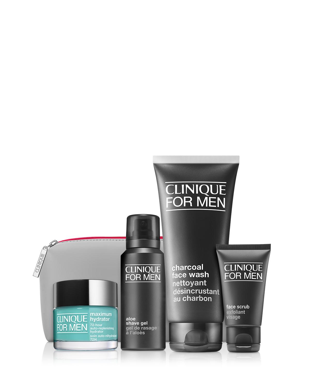 Necessaire Clinique Great Skin para homem (Maximum Hydrator 72-Hour Auto-Replenishing Hydrator + Charcoal Face Wash + Face Scrub + Aloe Shave Gel), €66,50, no El Corte Inglés e Perfumes & Companhia