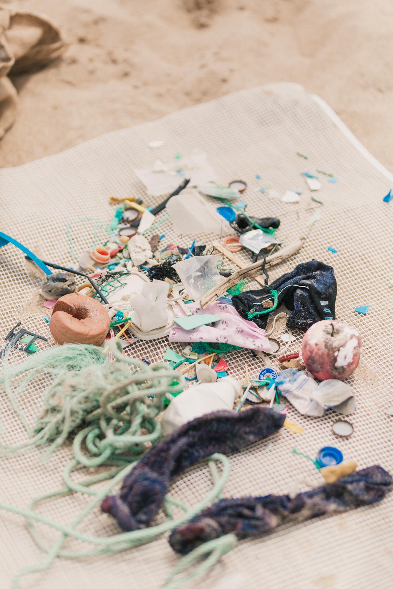 Débora Montenegro recolhe lixo nas praias